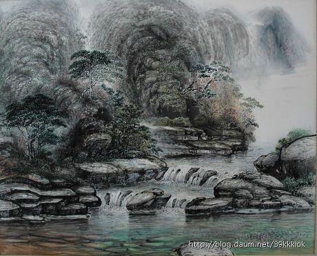 《韩国.中国画作品》 - 空山鸟语 - 月滿江南